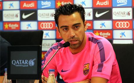 Xavi, en rueda de prensa este viernes en la Ciutat Esportiva