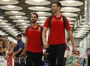 Claver junto a Calder�n a su llegada a Madrid procedente de R�o de Janeiro