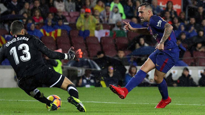 LALIGA   FC Barcelona - Sevilla (2-1): El primer gol de Alcácer esta temporada en Liga
