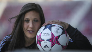 Jennifer Hermoso, delantera del FC Barcelona Femenino, ha marcado este martes seis goles ante el Oiartzun