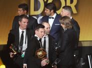 Robert Fern�ndez, Leo Messi y ANdr�s Iniesta durante la �ltima gala del FIFA Bal�n de Oro 2015