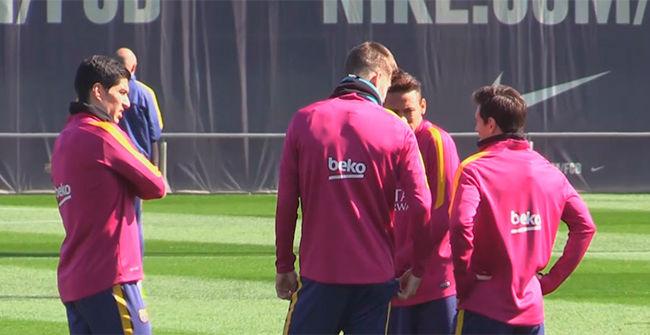 Entrenamiento del Barça antes de enfrentarse al Getafe
