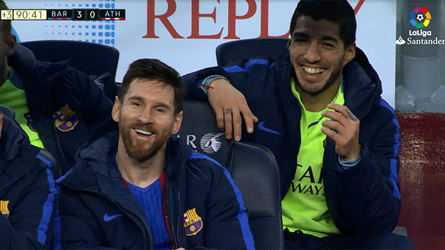Image result for messi and luis suarez bench