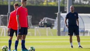 Gabri Garcia, durante un entrenamiento esta temporada del Juvenil A