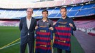 David Ferrer y Richard Gasquet visitaron el Camp Nou
