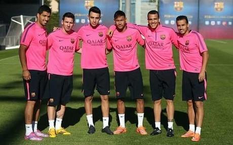 Luis Su�rez, Messi, Munir, Neymar, Sandro y Pedro antes del entrenamiento del viernes