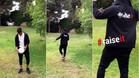 Neymar 'fusila' a un dron con un pelotazo