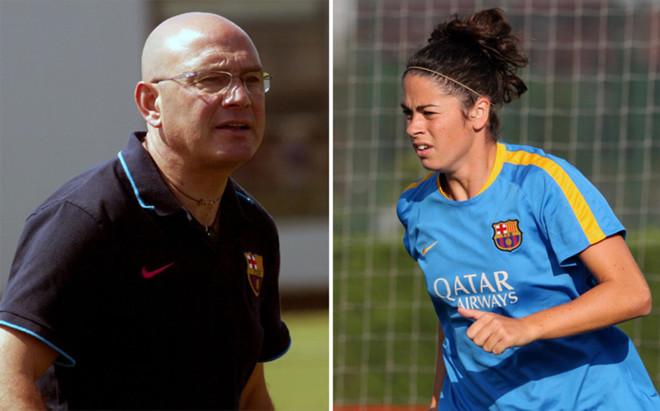 Xavi Llorens y Marta Torrej�n, entrenador y jugadora del FC Barcelona femenino