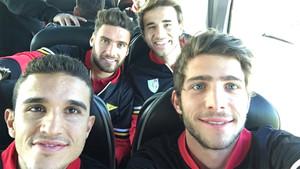 Jordi Masip, Sergi Roberto, Sergi Gómez y Sergi Samper camino de Girona