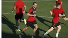 Juanfran participó en el entrenamiento del Atlético