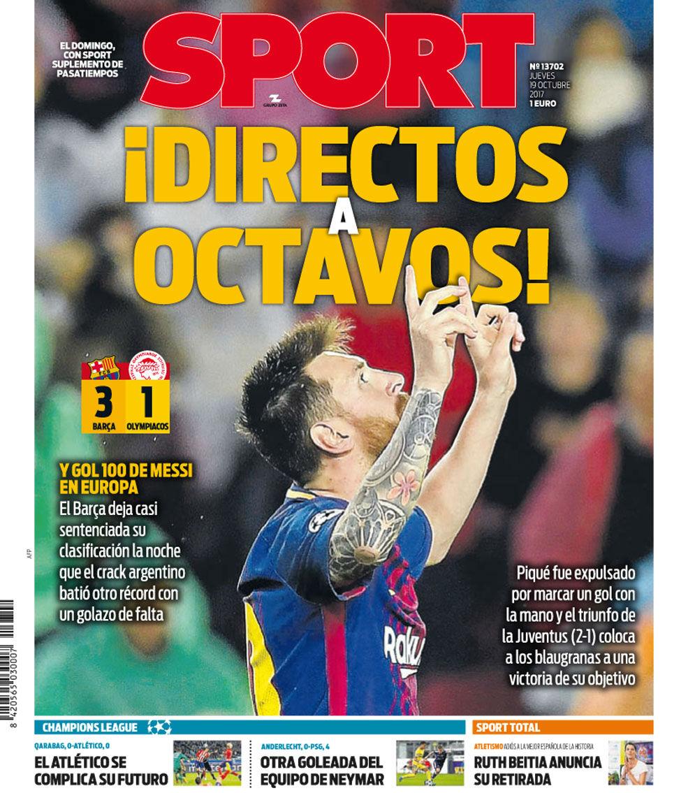 La portada de SPORT de hoy