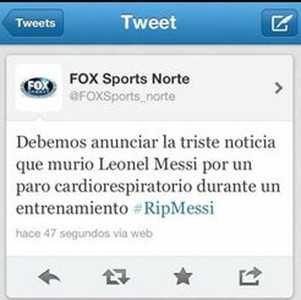 Imagen del tweet colgado por Fox Sport en su perfil de Twitter