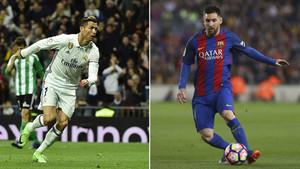 Cristiano Ronaldo y Leo Messi. El jugador del Real Madrid es el mejor pagado del fútbol europeo. El del FC Barcelona, negociando un nuevo contrato, el tecero