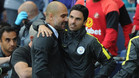 Guardiola vivió una divertida jornada junto a su staff