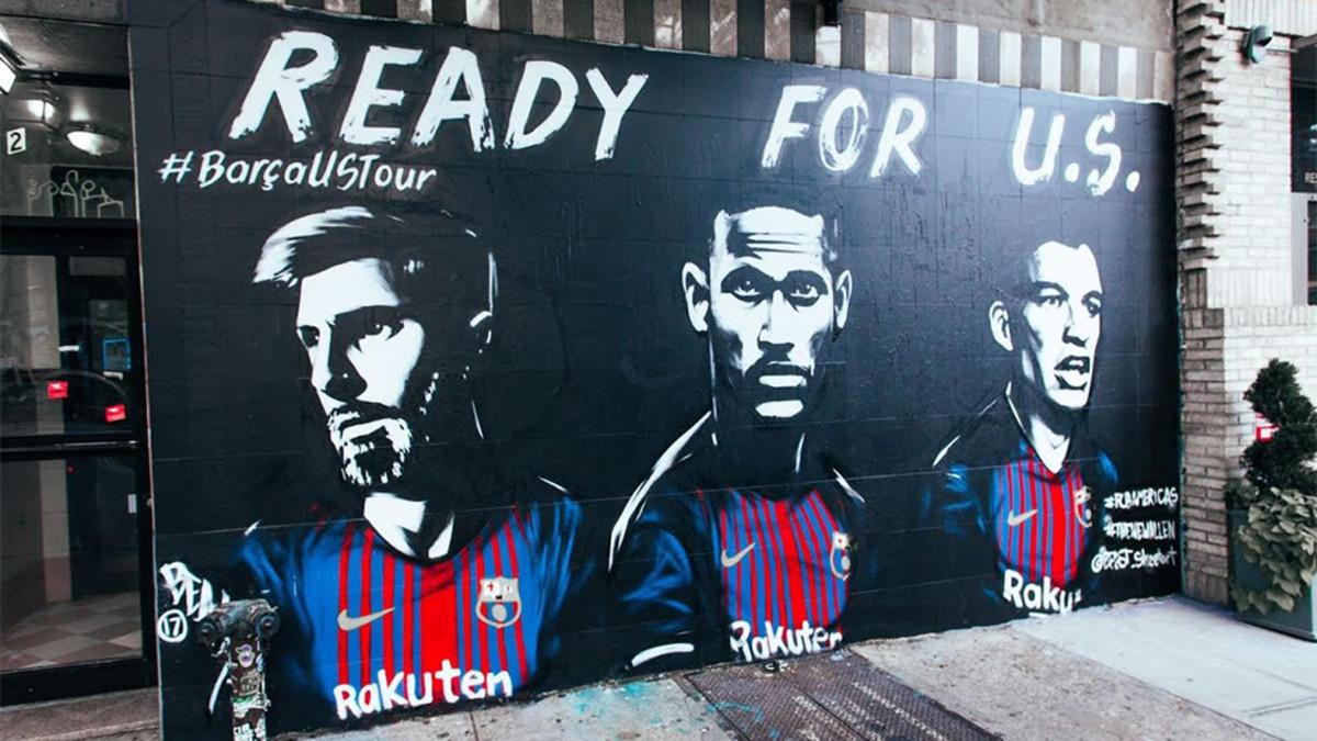 Nueva York recibirá al Barcelona con un mural
