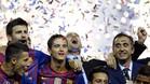 Barcelona\'s coach Josep Guardiola (C) celebrates his team\'s victory over Athletic Bilbao during the Spanish King\'s Cup final football match between Athletic Bilbao and FC Barcelona at the Vicente Calderon stadium, in Madrid, on May 25, 2012. AFP PHOTO/ RAFA RIVAS