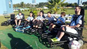 Leo Messi y la selección argentina estuvieron con los chicos de Powerchair FA en el predio de Ezeiza