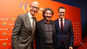 José Mari Bakero, Jordi Cardoner y Josep Vives presentaron el acto sobre el 25 aniversario de Wembley92