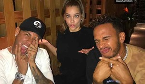 Neymar, junto a Barbara Palvin y Lewis Hamilton