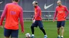 Leo Messi en un entrenamienbto del Barça junto a Javier Mascherano