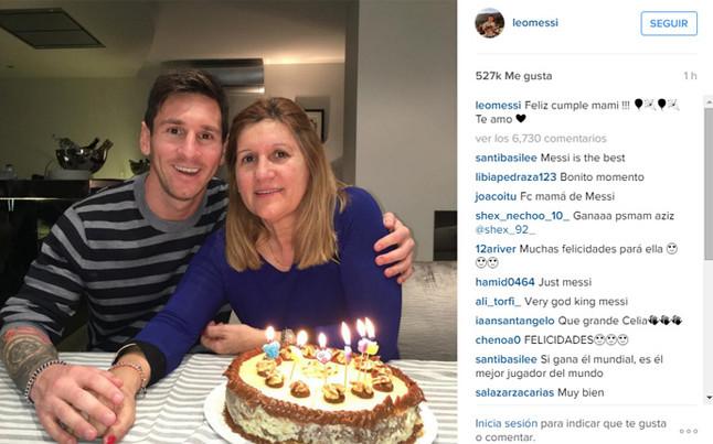 Messi celebra el cumplea�os de su madre en Castelldefels