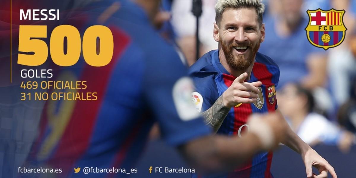 Leo Messi alcanza los 500 goles con el Barcelona
