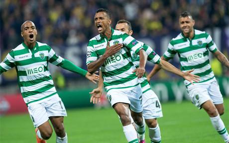Nani celebra el gol que adelantaba al Sporting ante el Maribor
