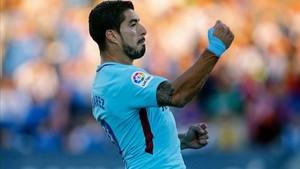 Suárez celebrando uno de los dos goles que ha anotado frente al Leganés