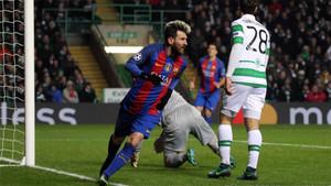 Leo Messi celebra el 0-1 en el Celtic - Barça de la Champions 2016/17