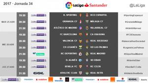 Fechas y horarios de la 34ª jornada de LaLiga Santander 2016 - 2017