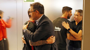 Bartomeu, Soler y Segura visitaron el vestuario