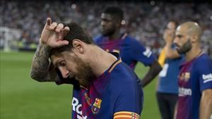 Messi trató de aguantar al equipo en el Bernabéu