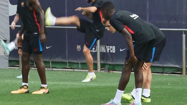 Las imágenes de Dembélé en el entrenamiento del pasado 7 de septiembre