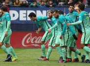 Los azulgrana festejaron tres goles en El Sadar