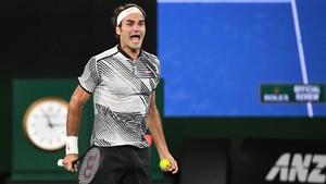 Roger Federer celebra su victoria en el Open de Australia 2017