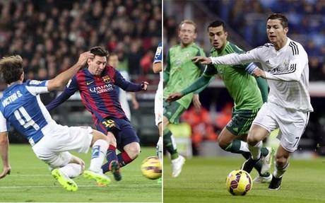Leo Messi en el Bar�a-Espanyol y Cristiano Ronaldo durante el Real Madrid-Celta de la primera vuelta de la Liga 2014-15