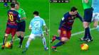 Leo Messi se inventa el regate del �rbitro ante el Celta