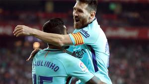 Messi y Paulinho fueron los protagonistas del tercer gol barcelonista