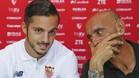 Monchi, durante la presentación de Sarabia como nuevo jugador del Sevilla
