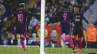 Leo Messi, Luis Suárez y Neymar Junior celebran un gol en el Manchester City - FC Barcelona