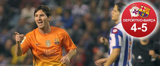 Leo Messi celebrando un gol en el partido