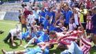 La plantilla del Girona celebró el ascenso en el césped del estadio Val