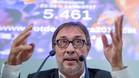 Agustí Benedito durante su anuncio de que impulsará el voto de censura contra Bartomeu