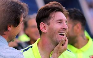 Leo Messi durante la celebración de la Liga 2014-15 tras el Atlético-Barça