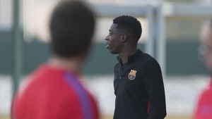 Ousmane Dembélé quiso estar presente en el entrenamiento previo al partido en Leganés