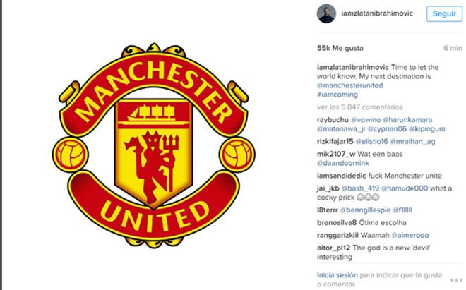 Ibrahimovic ha anunciado su fichaje por el United a trav�s de su cuenta en Instagram