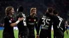 Los jugadores del Bayer Leverkusen celebraron la victoria en un partido totalemnte intrascendente