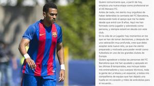 Jordi Mboula se despidió a través de una carta en las redes sociales