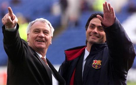 Sir Bobby Robson y Jos� Mourinho durante su etapa en el Bar�a