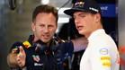 Verstappen discute con Horner en el box de Red Bull